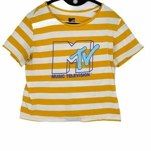 MTV gold-yellow & white striped cropped tee shirt